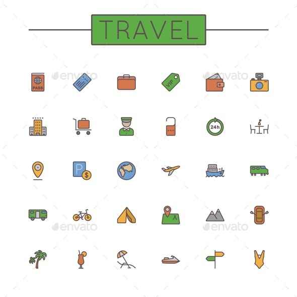 Colored Travel Line Icons - Travel Conceptual