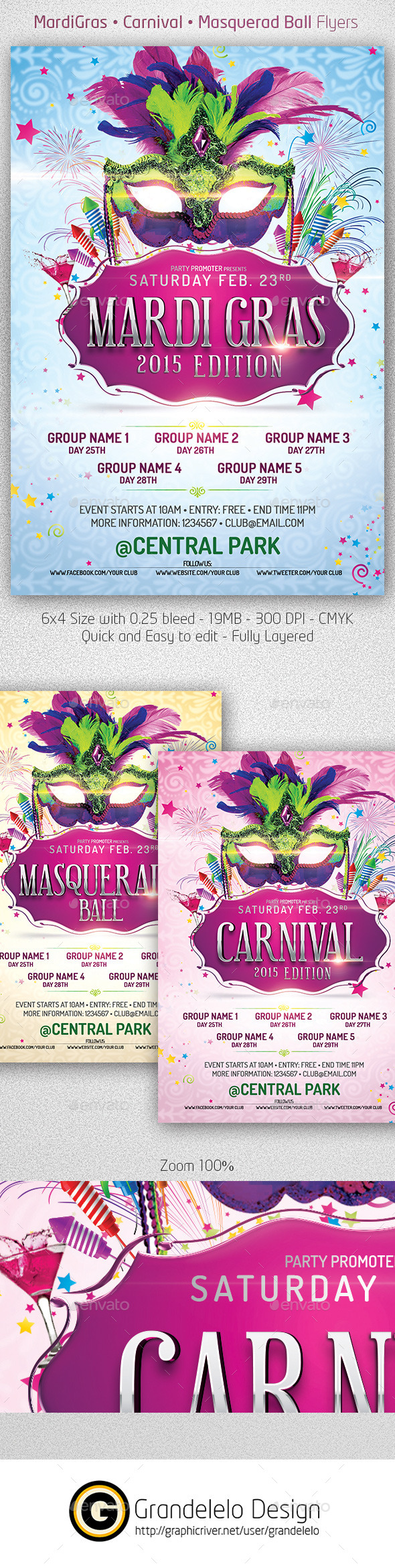 Mardi Gras 2015 The Poster Template - Clubs & Parties Events