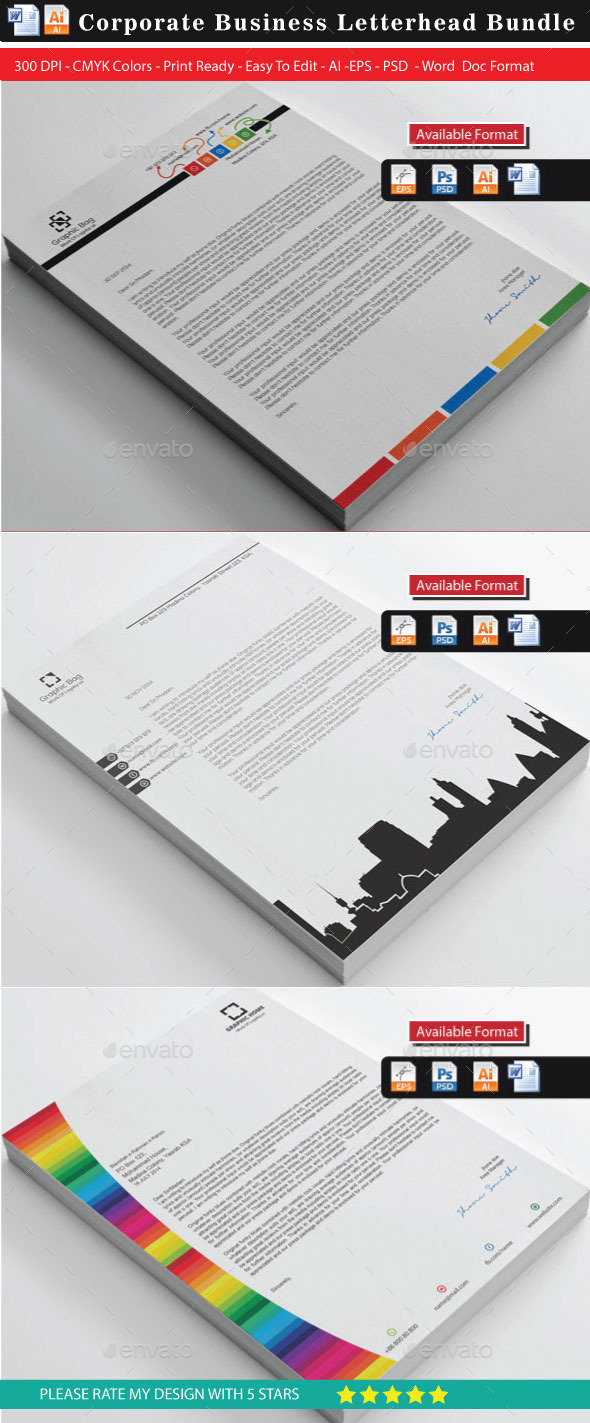 36 Corporate Colorful Real Estate Letterhead Bundl - Stationery Print Templates