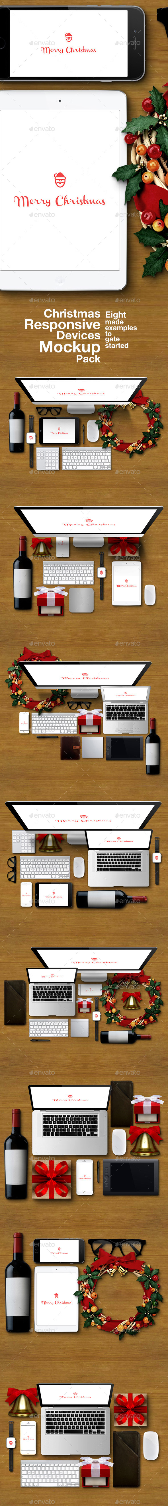Christmas Responsive Devices Mockup Pack - Multiple Displays