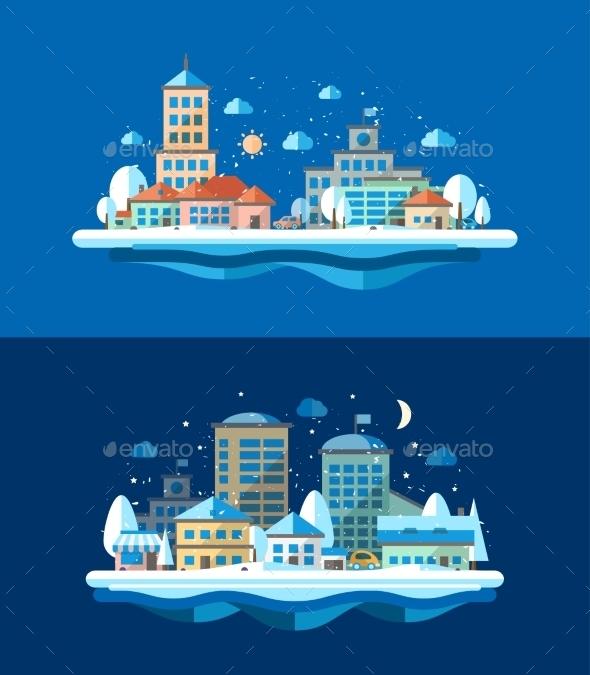 Winter Landscape - Buildings Objects