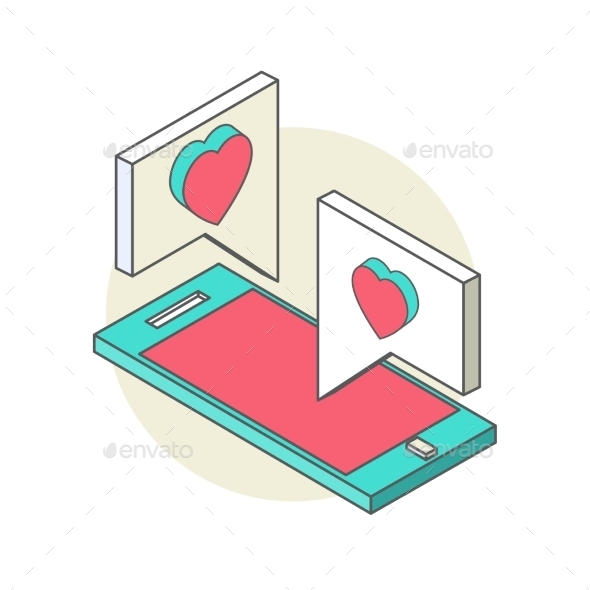 Isometric Illustration for Valentine's Day - Technology Conceptual