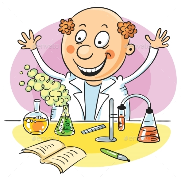 Happy Scientist and His Successful Experiment - People Characters