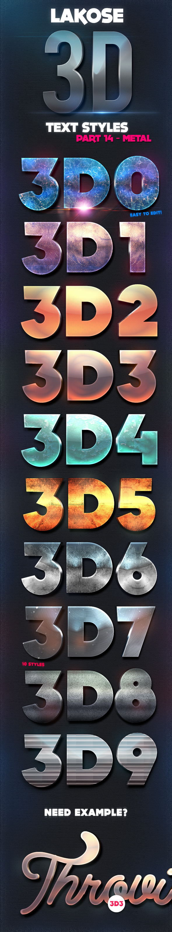 Lakose 3D Text Styles Part 14 - Text Effects Styles