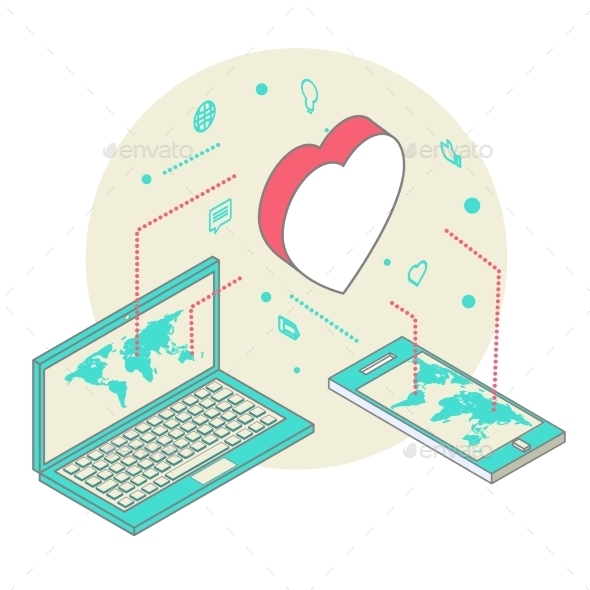 Isometric Illustration for Valentine's Day - Computers Technology