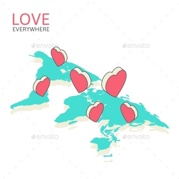 Isometric Illustration for Valentine's Day - Valentines Seasons/Holidays