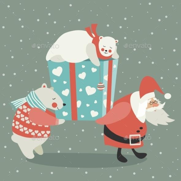 Santa and Polar Bear Carrying a Gift - Christmas Seasons/Holidays