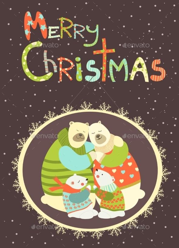 Greeting Card Polar Bears - Animals Characters