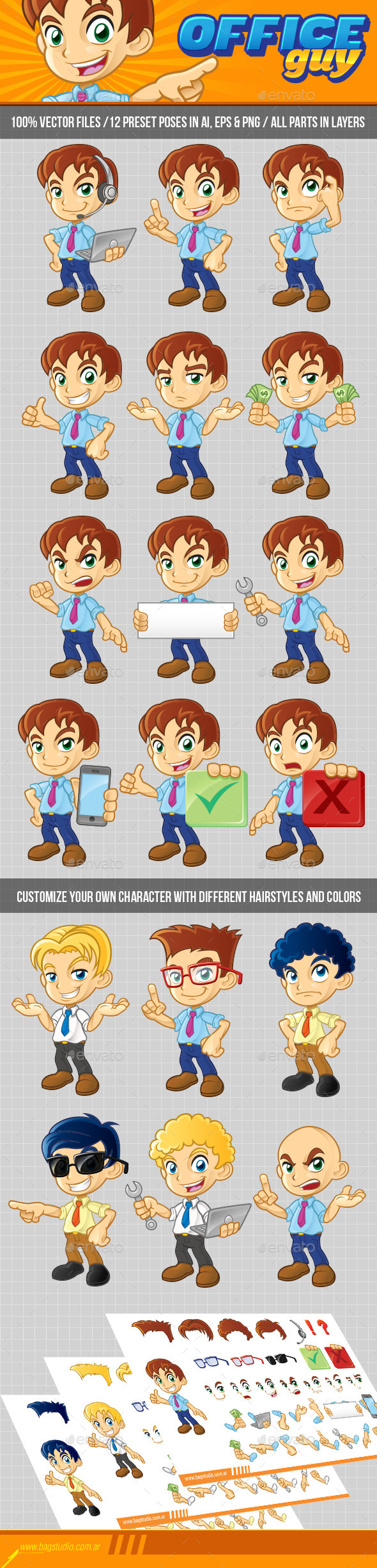 Office Guy Character Pack - People Characters