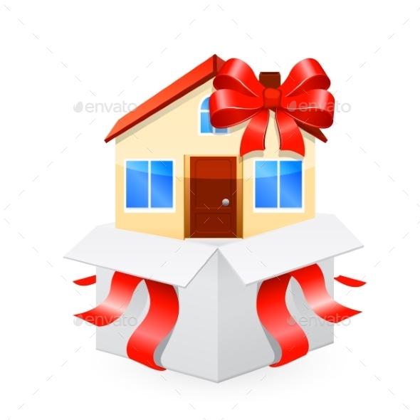 House as a Gift. Vector 10 EPS - Miscellaneous Conceptual