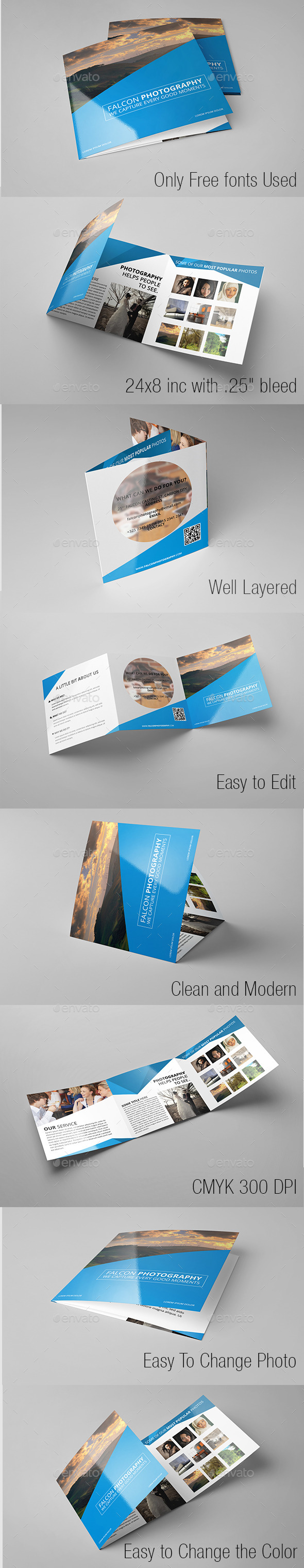 Modern Photography Square Trifold - Brochures Print Templates