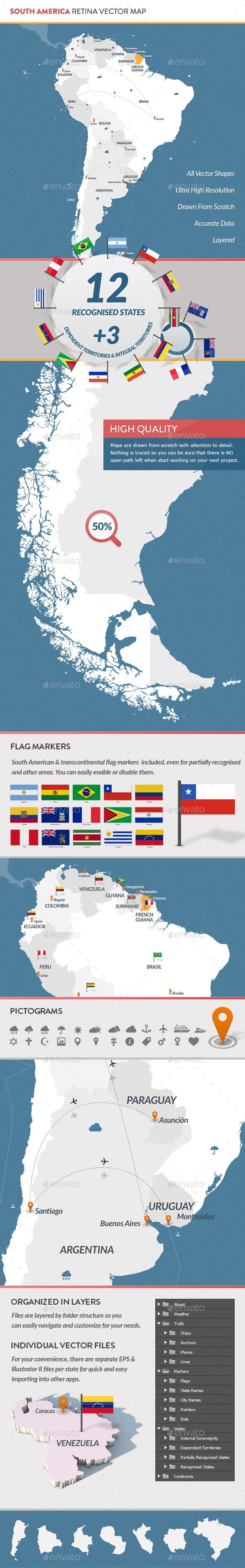South America Retina Vector Map - Miscellaneous Vectors