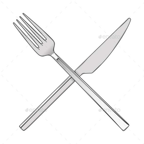 Crossed Fork and Knife - Man-made Objects Objects