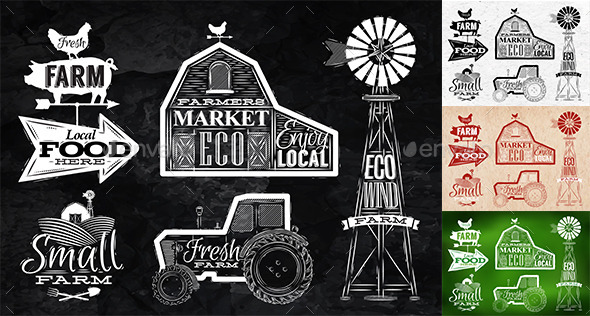 Farm Characters in Vintage Style - Organic Objects Objects