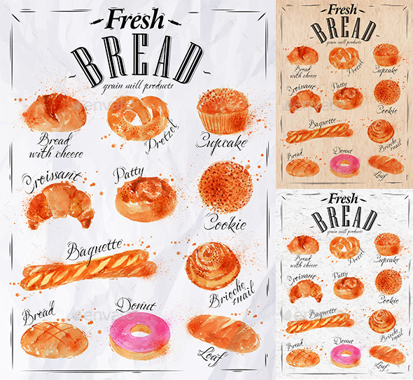 Bakery Products Painted Watercolor Poster - Food Objects