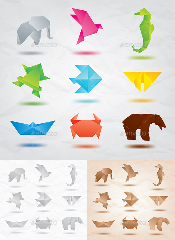 Set of Origami Animals - Animals Characters