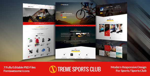 Xtreme Sports club – PSD Template