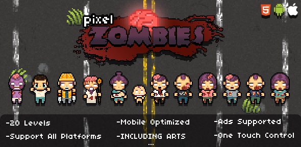 Pixel Zombies (HTML5 Game) - CodeCanyon Item for Sale