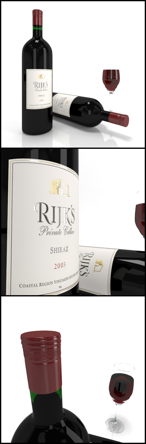Red wine bottles & full glass: Rijk Shiraz 2005  - 3DOcean Item for Sale