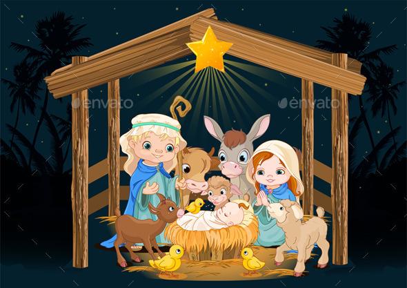 Holy Family at Christmas Night - Christmas Seasons/Holidays