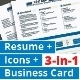 3-in-1 Deal: Resume Template + Icons + Business Card, TrueB Template - GraphicRiver Item for Sale