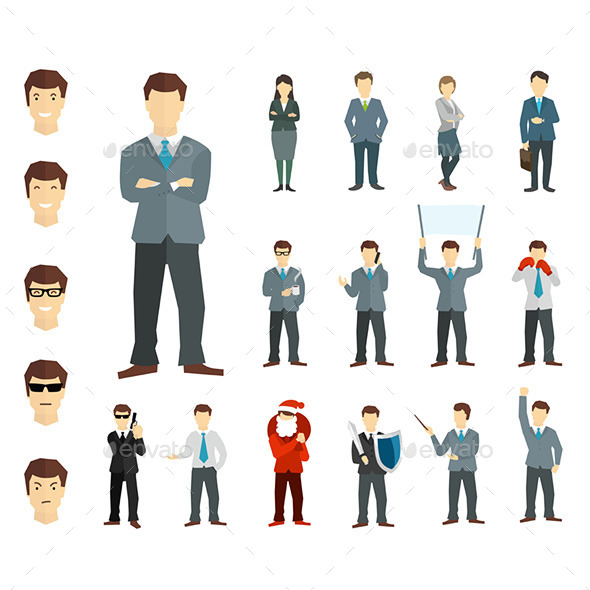 Many Working People in Various Poses - Business Conceptual