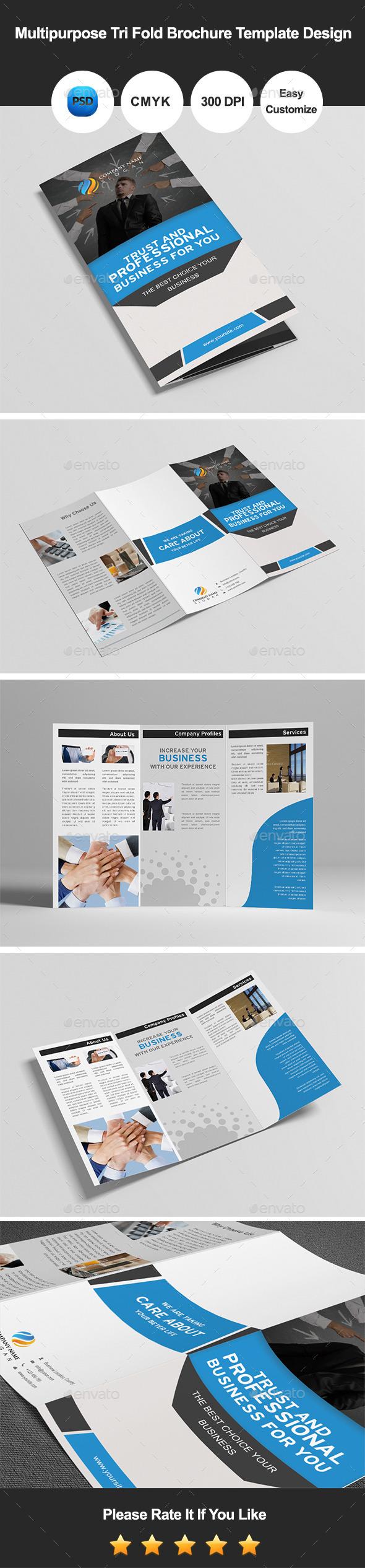 Multipurpose Tri Fold Brochure Template Design - Corporate Brochures