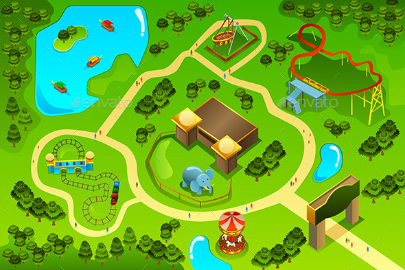 Map of an Amusement Theme Park - Objects Vectors