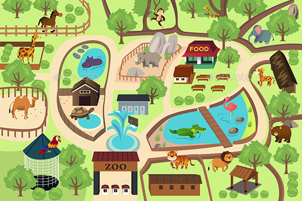 Map of a Zoo Park - Animals Characters