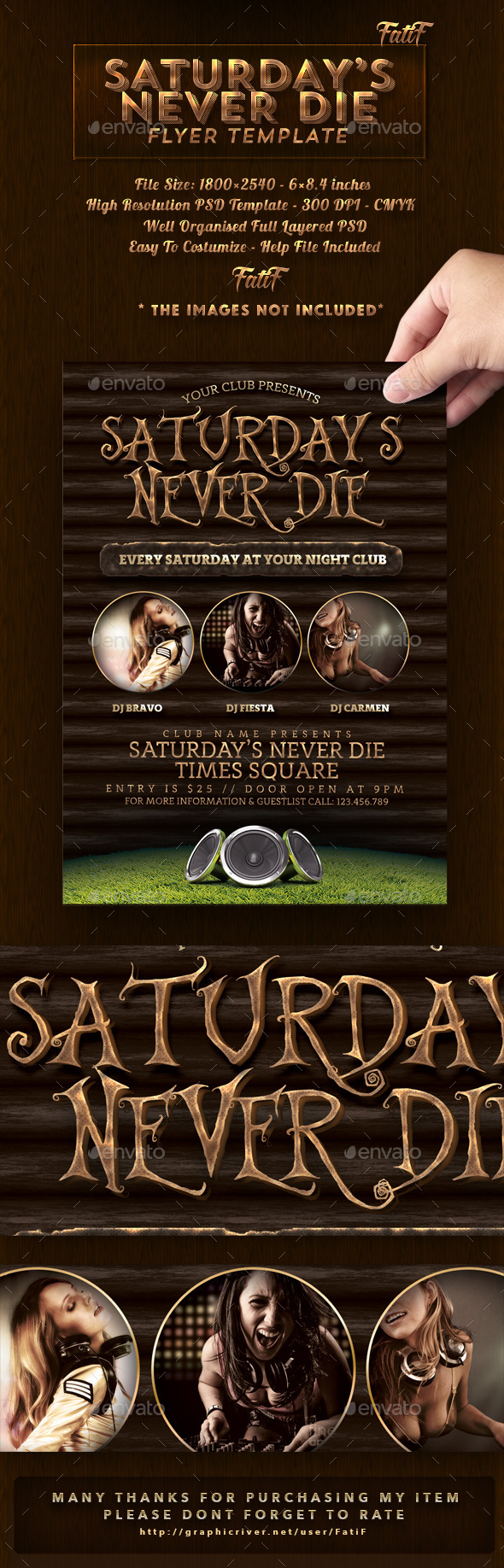 Saturday's Never Die Flyer Template - Clubs & Parties Events