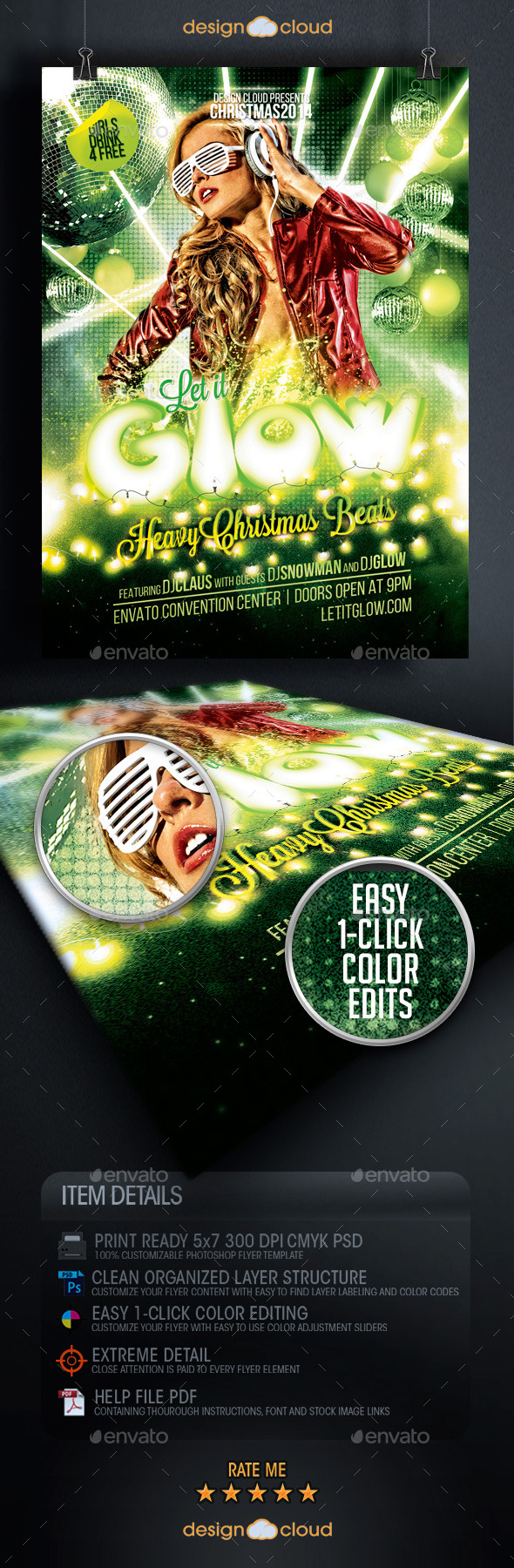Let it Glow Christmas Event Flyer Template - Clubs & Parties Events
