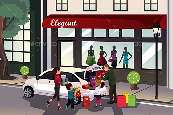 Family Loading Shopping Stuff into the Car - Commercial / Shopping Conceptual