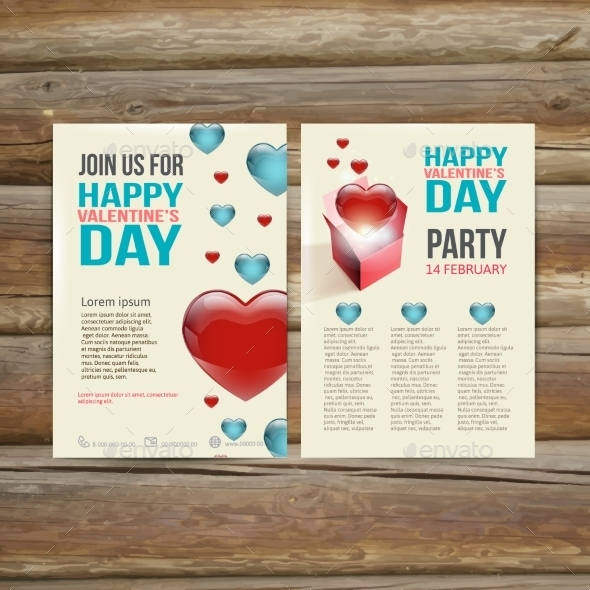Holiday  Brochure Flyer Design Vector Template - Valentines Seasons/Holidays