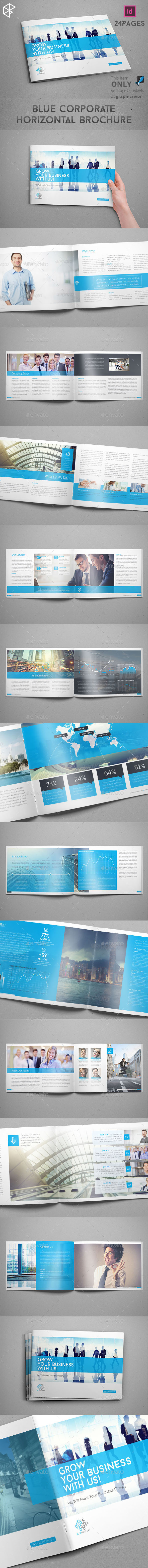 Blue Corporate Horizontal Brochure - Corporate Brochures