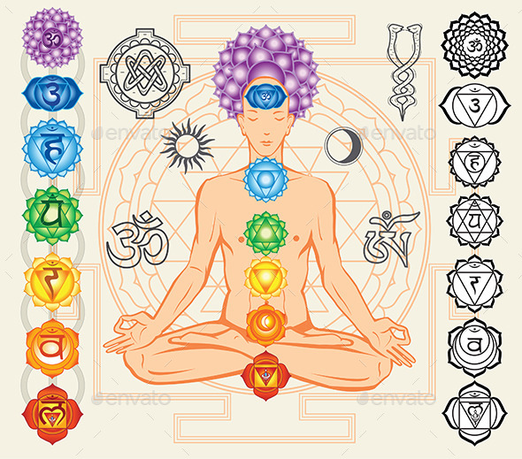 Silhouette of Man with Chakras - Decorative Symbols Decorative