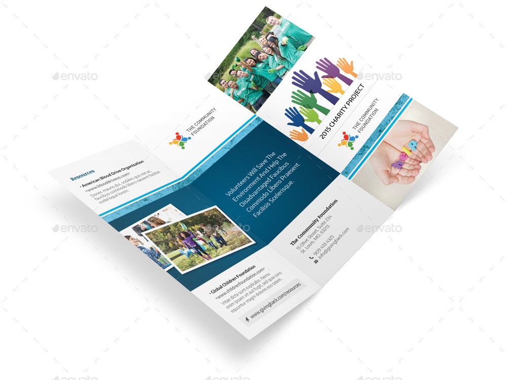 community service trifold brochure by mike pantone