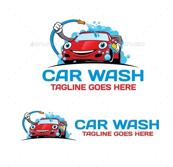 Cartoon Car Wash Logo - Objects Logo Templates