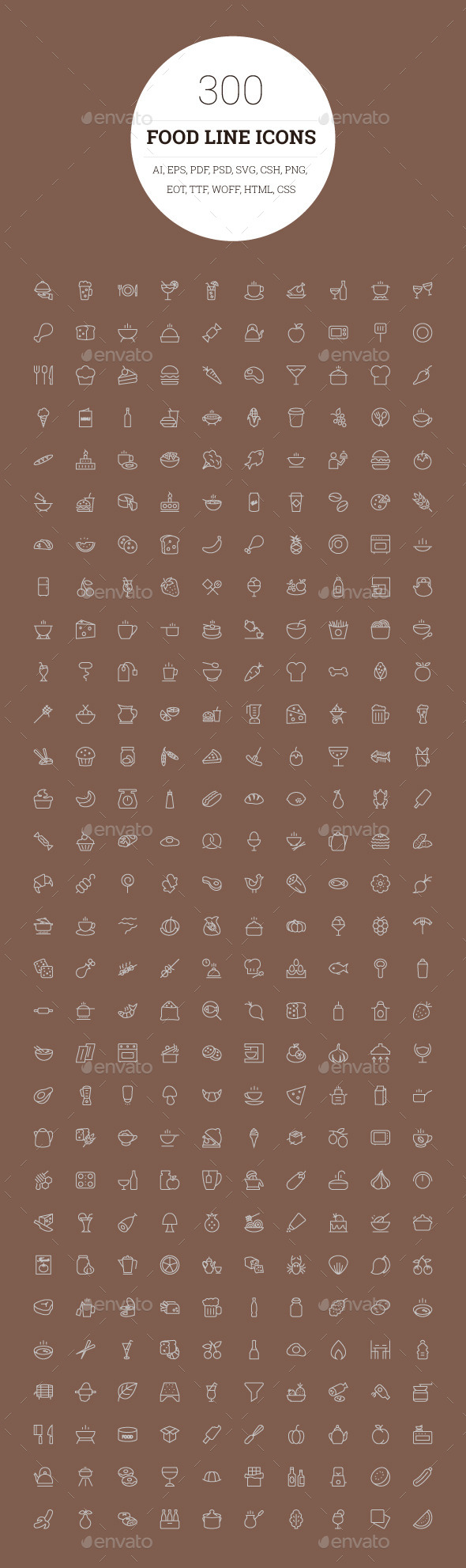 300 Food Line Icons - Food Objects