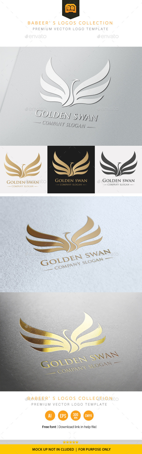Golden Swan - Crests Logo Templates