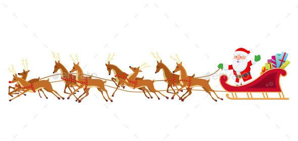 Santa Sleigh and Reindeer - Christmas Seasons/Holidays