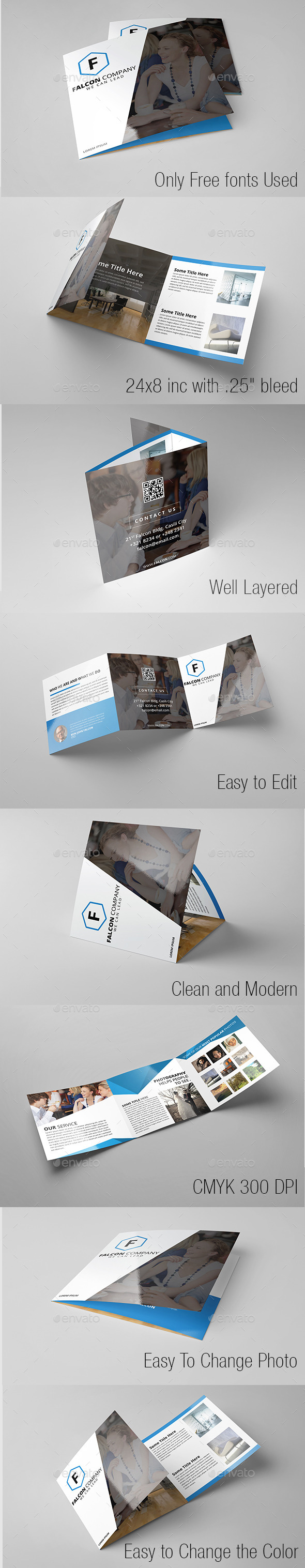 Modern Minimal Company Square Trifold - Informational Brochures