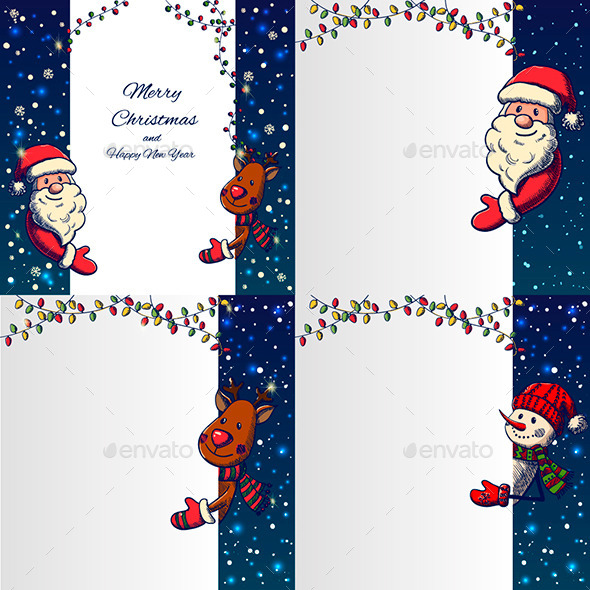 Set of Hand Drawn Cristmas Banners - Christmas Seasons/Holidays