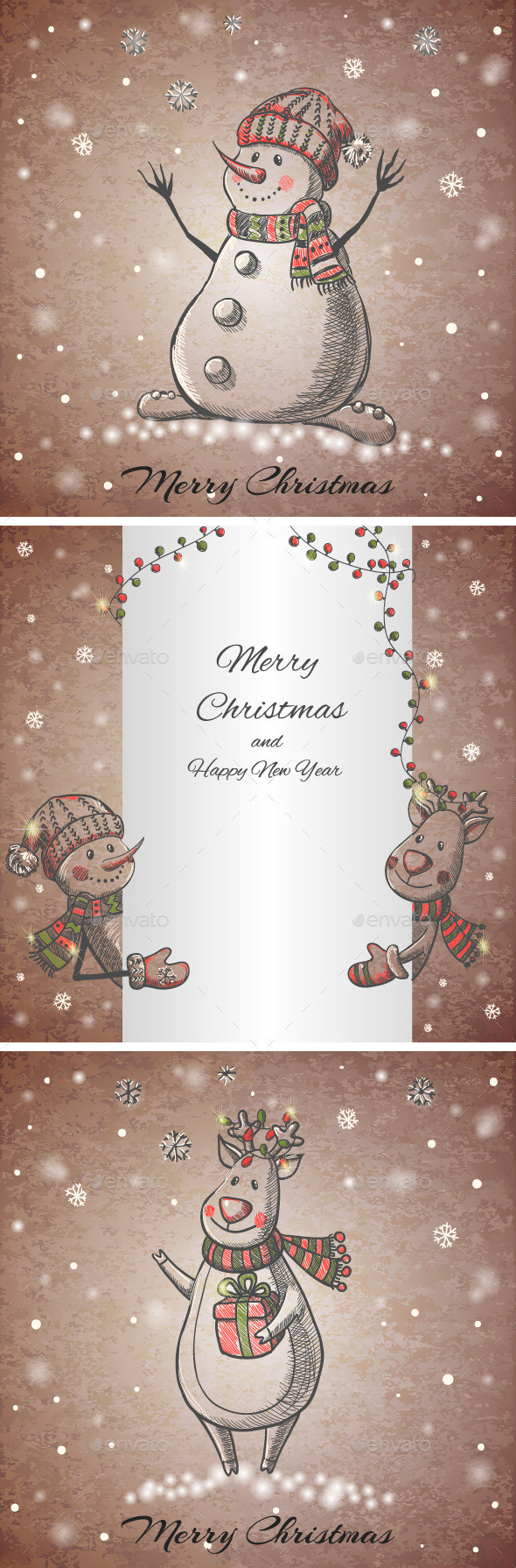 Set of Three Hand Drawn Christmas Cards - Christmas Seasons/Holidays
