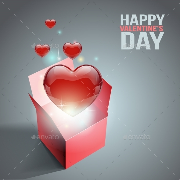 Heart Gift Present with Flying Hearts - Decorative Vectors