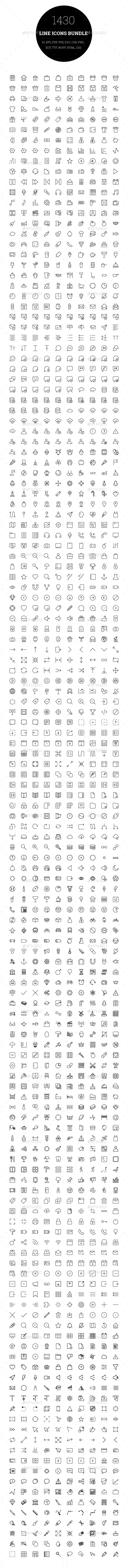 1430 Line Icons Bundle - Web Icons