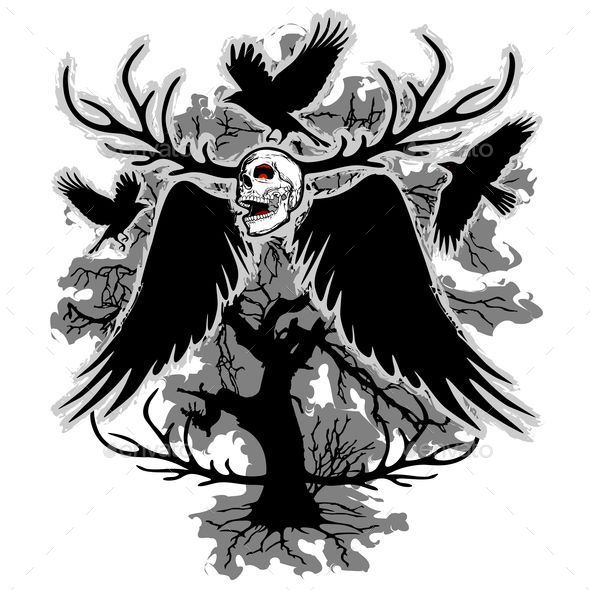 Nightmare Skull and Crows - Tattoos Vectors