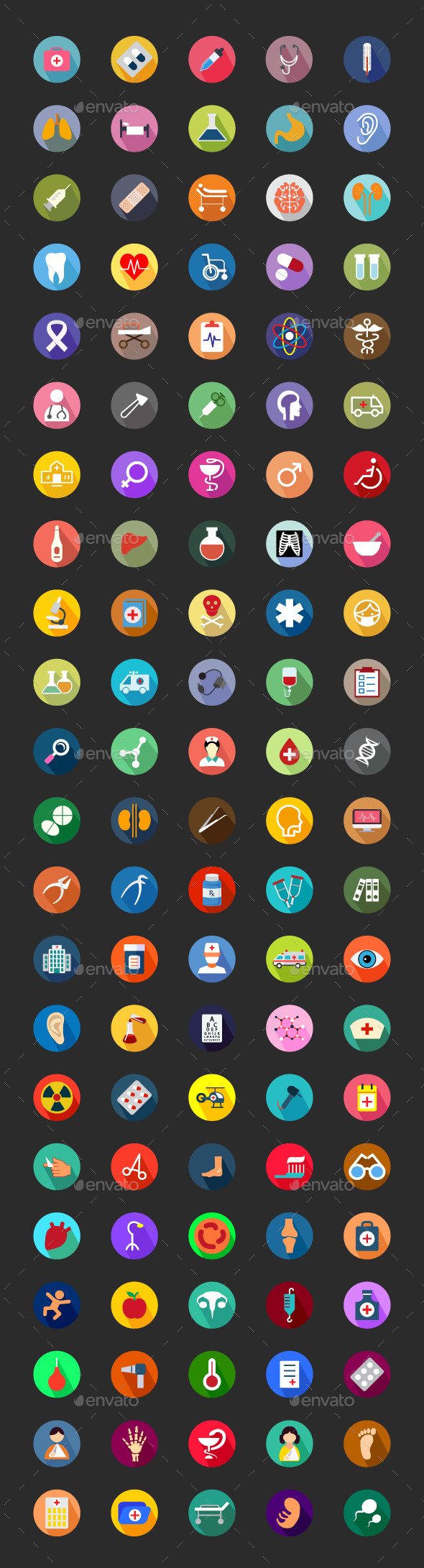 100+ Medical Flat Color Icon Set - Icons