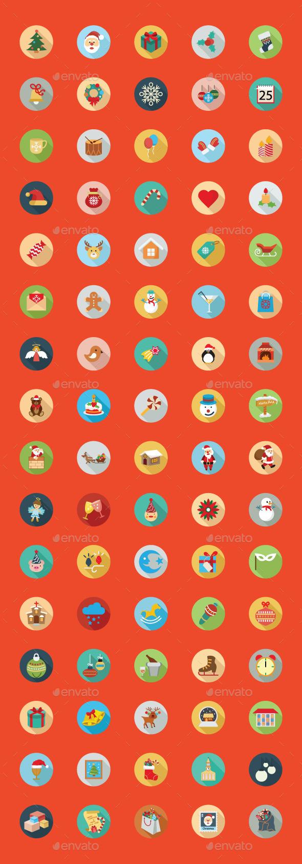 80 Christmas Flat Color Icon Set - Seasonal Icons