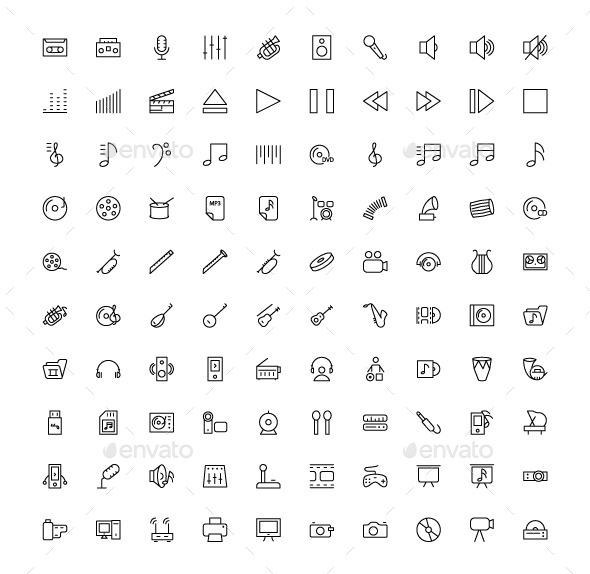 100 Music and Multimedia Icons - Media Icons