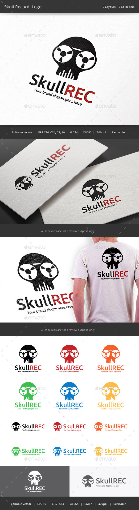 Skull Record Logo - Objects Logo Templates